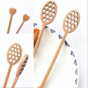 Cute Hollow Out Love Shaped Wooden Honey Stick Wood Honey Spoon Stick Dipper Stirrer Flatware Accessories Kitchen Gadget 348 R2