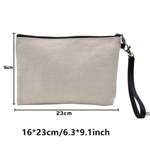Wholesale! Sublimation Makeup Wristlets Heat Transfer Blank Bag Flax Zipper Handbag RRD8620