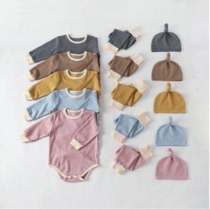 Bambini Designer Abbigliamento Baby Three Piece Abbigliamento Set di abbigliamento Tute Suit Striscia Pantaloni a manica lunga Set con cappello Neonato Tute Garment LSK512