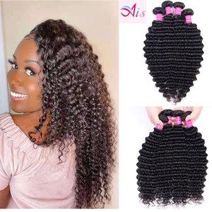 10A Wholesale Price Bulk Brazilian Human Hair Bundles Raw Unprocessed Natural Color Deep wave hair extensions