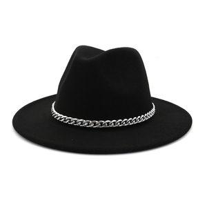 Effects Color Jazz Hats Cowboy Hat for Women and Winter Men Cap Sier Chain Wool Bolt Wholesale