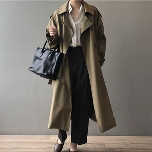 Women's Trench Coats Long Coat Women Clothes Elegant High Street Double-breasted Windbreaker Female Loose Vintage Oversized Q4755