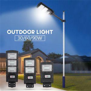 IP65 Waterproof 30W 60W 90W LED Solar Street Light Radar PIR Motion Sensor Wall Timing Lamp with Remote for Plaza Garden Yard