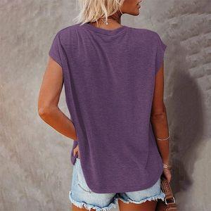 2021 Мода Мода Высокие Продажи Женские Летние Туалетная Футболка в Сплошной Цветовой кармане - Off-Place Круглая шея и с короткими рукавами