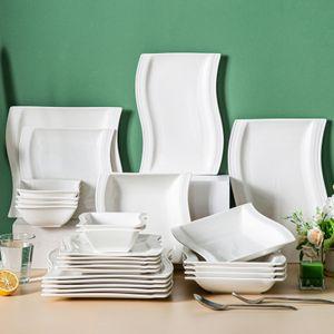 Malacasa Flora серии 26-частный керамический белый фарфоровая посуда посуды набор с 6 * десертной суп-ужин и 2 * прямоугольные плиты набор набор для 6 человек