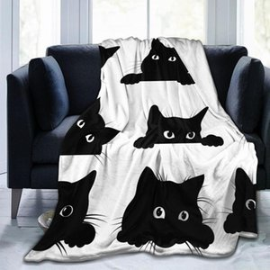 Blankets Flannel Blanket Black Cats Looking Out Of The Corner Thin Mechanical Wash Warm Soft Throw On Sofa Bed Travel Patchwork