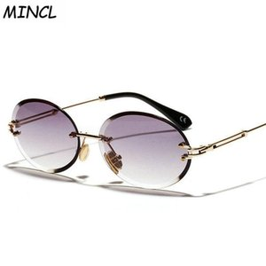Небольшие овальные солнцезащитные очки Женщины Rimless Crystal Облачные Солнцезащитные Очки для УВ400 Градиент Hip Hop FML