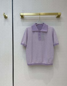 Milan Runway Sweater 2021 Short Sleeves Lapel Neck High End Jacquard Pullovers Women Designer T-Shirts 0323-2