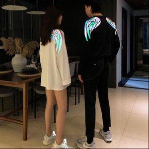 Womens T Shirt angle wing sailor moon reflective clothes women long sleeve tshirt gothic streetwear couple harajuku fashion