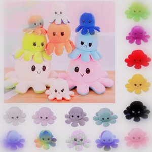 DHL Reversiblee Flip Octopus kids children toys Christmas Party Favor Soft Double-sided Expression Plush Toy Stock Stuffed Dolls tw