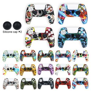 PS5 game handle camouflage silica gel protective cover anti falling and water gliding transfer printing of various good-looking colors