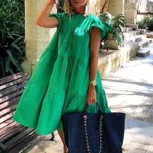 PROPCM Summer Women Dress Casual Ruffled Short Sleeve Large Hem A Line Midi Vestidos Solid Color O Neck Daily Party Streetwear Clothes