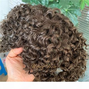 Brown color mens toupee PU with lace base comfortable 6*8 indian hair Free style Natural hairline invisible custom toupee for black men