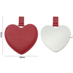 Portable Heart Shaped Stainless Steel Pocket Makeup Mirror PU Leather Travel Mini Mirrors Creative DIY Gift Supplies HHA8872