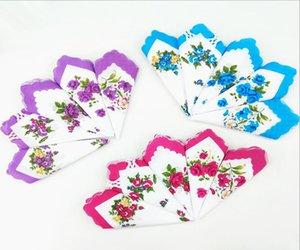 Mouchoir Couleurs Croissant Mouchoir imprimé Coton Floral Hankie Fleur Mouchoir brodé Brodé Colorful Dames Testelle de poche GWC6849