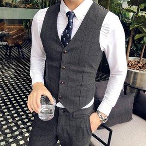 High Quality Suit Vest Men Fashion Wedding Dress Plaid Formal Business Attire Slim Wed Waistcoat Korean Sleeveless Gilet Men's Vests