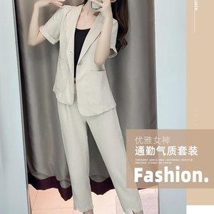 Summer Office Suit 2 Piece Sets Womens Outfits Fashion Elegant Blazer Suits+ Work Wear Pants 2021 Trouser Suits Women's Two