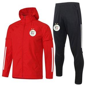 2021 Algeria calcio a vento a vento da uomo Tuta da uomo Kit Zipper Jackette con cappuccio Pantaloni Set di formazione sportiva Abiti da allenamento Sport Giacca da calcio Adulti Trench sportswear