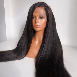 Long Yaki прямые волосы синтетические кружева фронт парик черный средняя часть косплей парик светлый яки без глиной передний кружевной парик для женщин