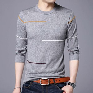 sweatshirt autumn young long sleeve line pattern round neck casual comfortable men's sweater