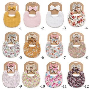 Baby Bibs Feeding Burping Cloths Girls Accessory Cotton Flower Bows Bowknot Headbands 2Pcs Sets Princess Wear B5515