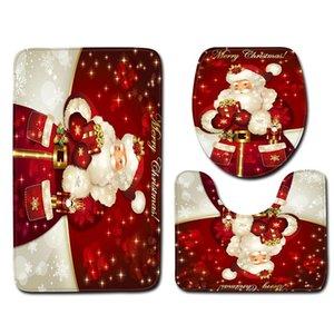 Carpets 3Pcs set Bathroom Mat Set Christmas Snowman Anti-Slip Kitchen Bath Carpet Area Rug Toliet Rugs Washable