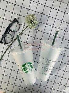Mermaid Goddess Starbucks 24oz 710ml Plastic Mugs Tumbler Reusable Clear Drinking Flat Bottom Pillar Shape Lid Straw Cups 50pcs