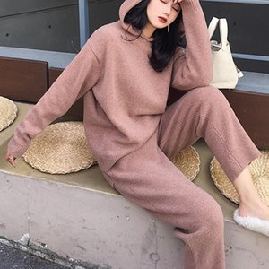 Women's Two Piece Pants 2021 Wool Sweater 2 Pieces Set Women Knitted Tracksuit Hooded Harem Pullover Top