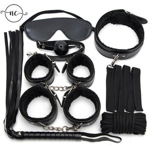 Bondage SM Sex Products Erotic Toys For Adults Games BDSM Leather Set Handcuffs Nipple Clamps Gag Whip Rope
