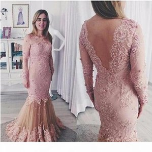Elegant Mermaid Pink Lace Mermaid Evening Dresses Full Length Sexy Backless Illusion Long Sleeve Beaded Women Prom Party Wear Formal Gowns