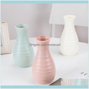 Vases Décor Home & Gardenvases Morandi Plastic Vase Living Room Decoration Ornaments Nordic Imitation Glaze Anti-Ceramic Face Modern Minim D