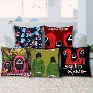 45*45CM Linen Pillowcase The Squid Game Pillow Cases Sofa Car Throw Pillow Cushion Covers Cartoon Print TikTok Trendy Party Ornament Decor Comic Related G1111AH0