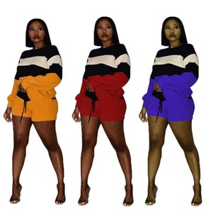 Color Patchwork Sweater Women Tracksuits 2 Piece Suit Long Sleeve Loose Sweatshirts Pullover Top + Shorts Casual Warm Suits Streetwear Women's Tracksuit