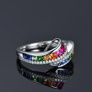 Cluster Rings Boho Female Rainbow Crystal Stone Ring Trendy Square Zirconia Engagement For Women Cute Bridal Silver Hollow Wedding