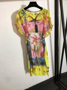 Платье Милана взлетно-посадочная полоса 2021 лето o шеи с коротким рукавом печать дизайнерское платье бренд та же стиль платье 0526-29