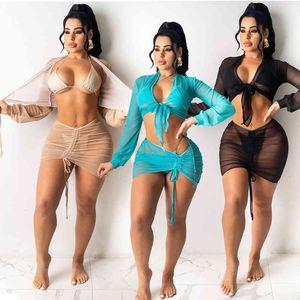 Купальник Echoine Летний Пляж 4 шт. Бикини набор с покрытием Sheer Iresh Eartwea Rewsing Mini юбка сексуальные купальники 2021