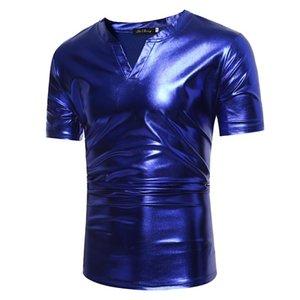 Homens camisetas Clássico V Neck T Camiseta Homens Royal Royal Azul Revestido Azul Metálico Estágio Estágio Tshirt Hip Hop Streetwear Camiseta Masculina XXL