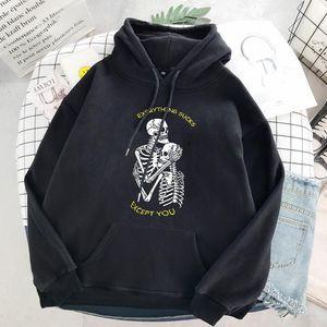 Punk Style Sweat à capuche Femme Skull Manches longue Casual Top Goth Skeleton Dark Noir 2021 Sweat-shirt de la mode Loose Ulzzang