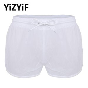 Mens Swim Briefs Soft See Through Swimwear Men Sexy Swimsuit Beach Boxer Shorts Swimming Trunks Drawstring Lightweight Panties Men's