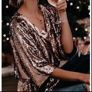 Womens Blouses Fashion Women Clubwear Casual Shirts Glitter Sequin Tunic Elegant Tops V Neck Long Sleeve Shirt Blouse
