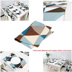 Table Runner Elegant Modern Geometric Triangle Pattern Mat Cotton Slip-resistant Tableware Placemat Dish Bowl Insulation-proof Pad