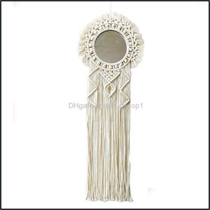 Mirrors Décor & Gardenmirrors Bohemian Rame Wall Hanging Decorative Mirror Handmade Woven Mandala Tapestry For Home Living Room Decor Drop D