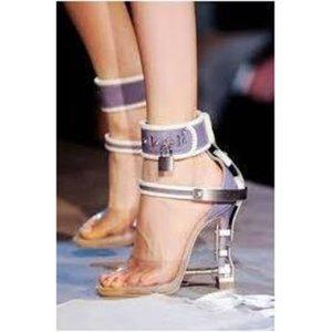 مثير المعادن قفل المصارع الصنادل النساء أحذية pvc الجلود السيدات حجر الراين عالية الكعب الصنادل المرأة الأحذية الصيفية منصة T200831