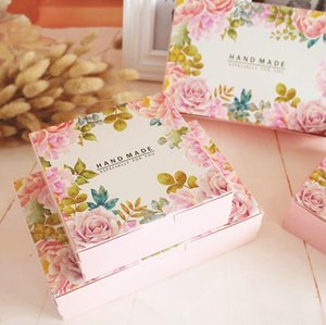 Other Event & Party Supplies 20pcs Flower Printed Pink Gift Paper Box HANDMADE Moon Cake Chocolate Packaging Macaroon Boxes 21.6x13.5x5cm