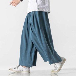 Брюки 2021 летний износ тонкий китайский стиль досуг хлопок конопля мода прямая трубка широкая нога большие мужчины