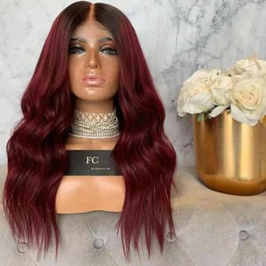 Ombre Red lace front Wig With Dark Roots Long Wavy Two Tones Color Glueless Synthetic Wigs For Black Women