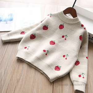 Girls strawberry pattern knitted pullover kids round collar long sleeve sweater tops winter children warm princess jumper Q2254