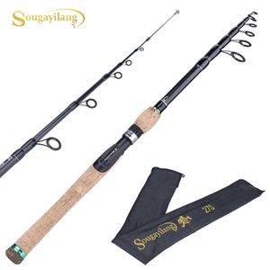 Telescopic Lure Rod 1.8M 2.1M 2.4M 2.7M Carbon Fiber Cork Wood Handle Spinning Rod Fishing Pole Tackle