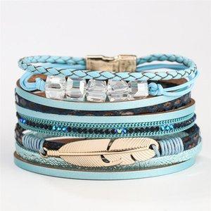 Tennis Natural Stones Crystal Quartz Charm Magnet Wrap Bracelets Handmade Boho Bracelet Women Leather Gift Jewelry
