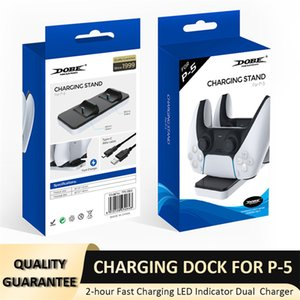 Dual Charger Dock Mount Charging Stand For PS5 Gamepad Wireless Controller LED Chargerd Indicator With Retail Box DHL Fast delivery